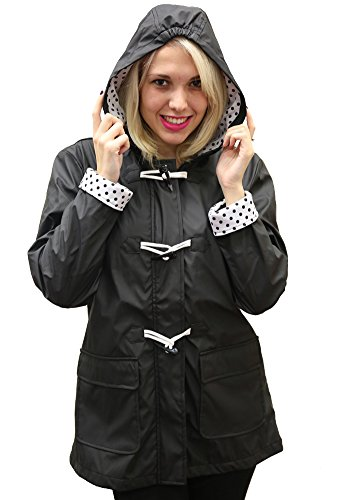 Womens Hooded Toggle - Women's Apparel No. 5 Hooded Toggle Rain Coat Black, XL