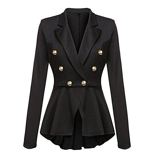 A Casual Moda Outwear Maniche Jacket Peplum Button Blazer Lunghe Giacca Nero Arricciature Con Da Alla Donna Coat 7cAXqB