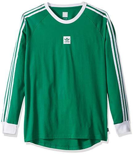 adidas Originals Men's Skate Long Sleeve Cali Blackbird Tee, bold green/White, X-Large