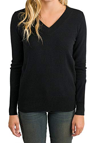 Black Ribbed V-neck Sweater - ALBIZIA Women's V-Neck Long Sleeve Ribbed Knited Pullover Sweaters XL Black
