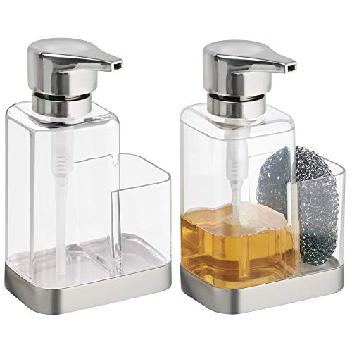 mDesign Modern Plastic Kitchen Sink Countertop Liquid Hand Soap Dispenser Pump Bottle Caddy with Storage Compartment - Holds and Stores Sponges, Scrubbers and Brushes - Pack of 2, Clear/Brushed ()