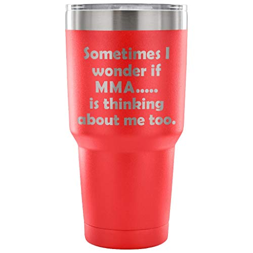 ArtsyMod SOMETIMES I WONDER IF MMA, Perfect Funny Mixed Martial Arts Statement Gift For Men Women Fighters Student, Premium Stainless Steel Water Vacuum Tumbler, 30oz. (Red)