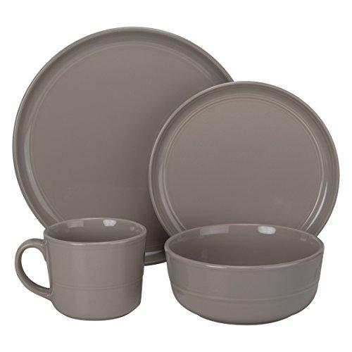 Grey Stoneware (10 Strawberry Street Double Line Dinnerware, 16 Pc Set, Gray)
