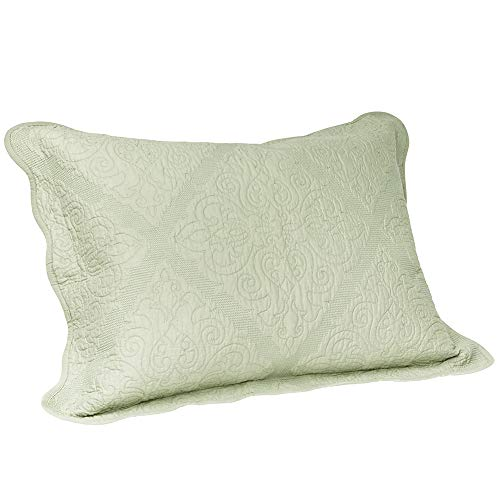 Elegant Life All-Season Cotton Collection Martha Reversible Allover Trapunto Quilting Washed Pillow Sham, King Size, 20 x 36
