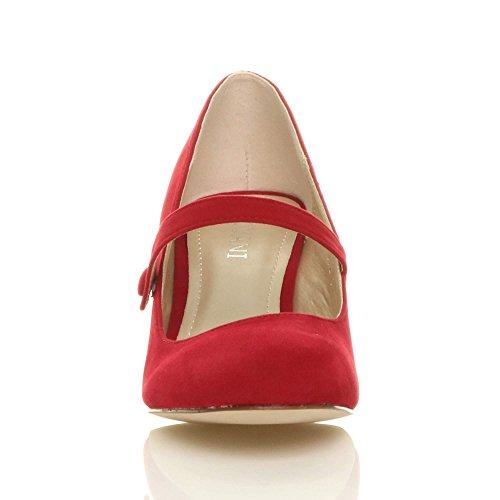 Damen Hoher Absatz Mary Jane Formal Abend Party Ball Pumps Schuhe Größe Rot Wildleder