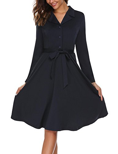 ACEVOG Womens Long Sleeve Button Down A-Line Casual Dress With Belt