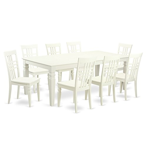 East West Furniture LGLG9-LWH-W 9Piece Table Set with One Logan Dining Room Table & Eight Dining Chairs in Linen White Finish