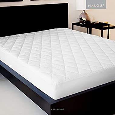 SLEEP TITE Quilted Mattress Pad with Damask Cover and Down Alternative Fill - Queen