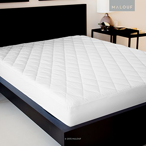 SLEEP TITE Quilted Mattress Pad with Damask Cover and Down Alternative Fill - Cal - Mattress Damask Pad Cotton