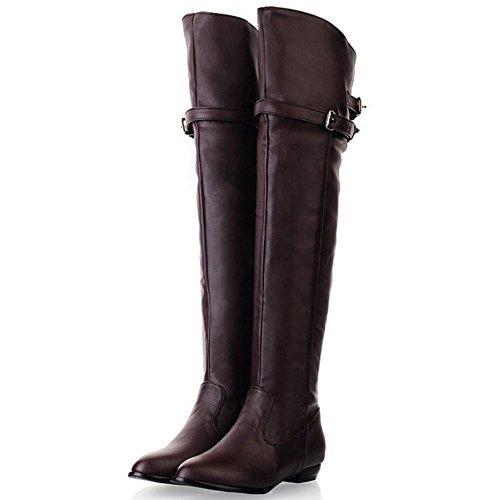 Fashion Women 1 KemeKiss Half Brown Zipper Boots qTnddXxU5