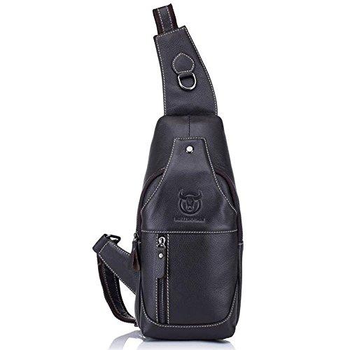 Crossbody Shoulder For Travel Chest Wwave Cowhide Men Sling Plain Outdoors Backpack Bags Bag Black Business Women qfqYp