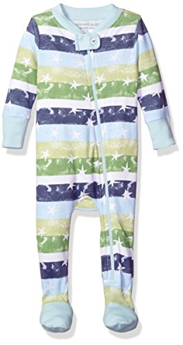 Burt's Bees Baby Organic Zip Front Sleeper, Horizon Blue Stars/Stripes, 12 Months