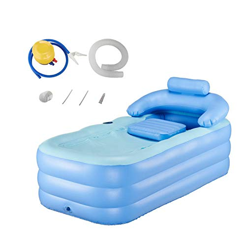 FlySkip Inflatable Adult Bath Tub with Foot Pump, High-Density PVC Free-Standing Bathtub with Foldable, Portable Blow Up Bath Tub for Adult Spa (Foot Pump)