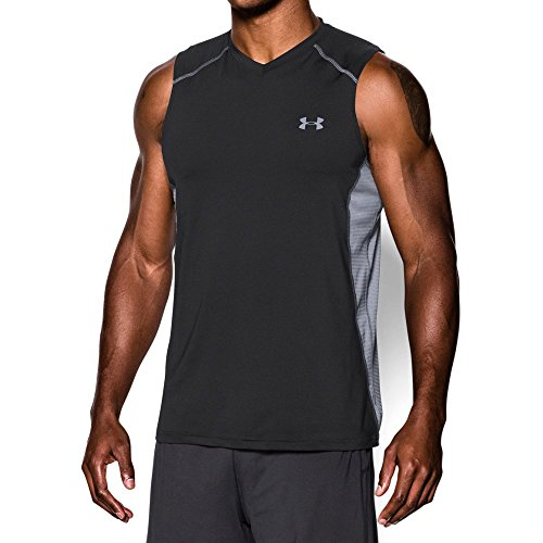 Sleeveless Mens Training Shirt (Under Armour Men's Raid Sleeveless T-Shirt, Black/Steel, Large)