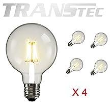 TRANSTEC - Pack of 4 - G80/G25 Vintage Edison Globe LED Filament Bulbs 6Watt 110~130VAC Warm white [Energy Save AA]