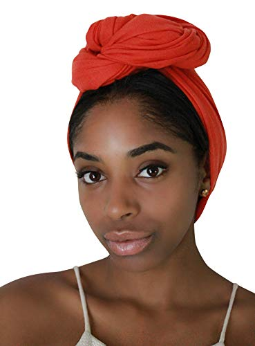 Rayna Josephine Solid Color Head Wrap -Stretch Long Hair Scarf Turban Tie (Orange Spice) (Long Scarf Headband)