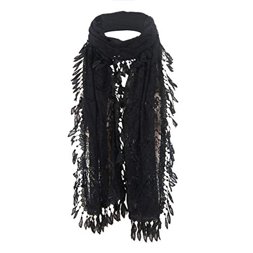 MissShorthair Floral Print Lace Scarfs for Women with Fringes (Black Luck Leaf)