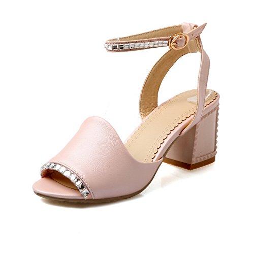 Amoonyfashion Kvinners Fast Mykt Materiale Kitten-hæler Spenne Titte-sandaler Rosa