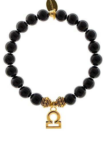 EvaDane 1_ONY_G_R_LIB_8 Natural Semi Precious Onyx Gemstone Rope Bead Libra Charm Stretch Bracelet, Black