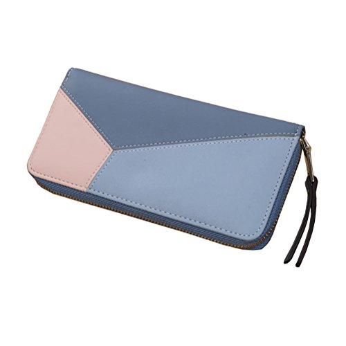 G-zebra Women's RFID Blocking Wallet Long Leather Zipper Ladies Clutch Purse Blue (Zebra Wallet Clutch)