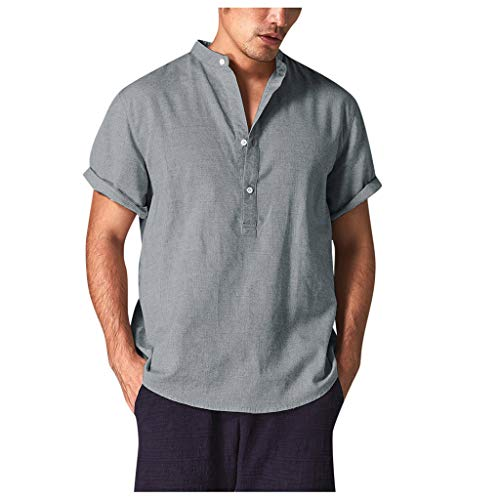 Summer Cotton Shirt Men Cool Breathable Stand CollarShort Sleeve Top]()