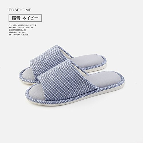 Summer 42 Male Soft The Seasons Cotton Stay Dark Slip Ground Home Slippers Female Couples 43 Anti fankou and Linen All Blue Slippers Indoor Flax CYwq6FR