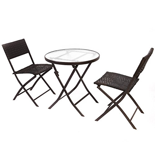 Giantex Patio Furniture Folding 3PC Table Chair Set Bistro