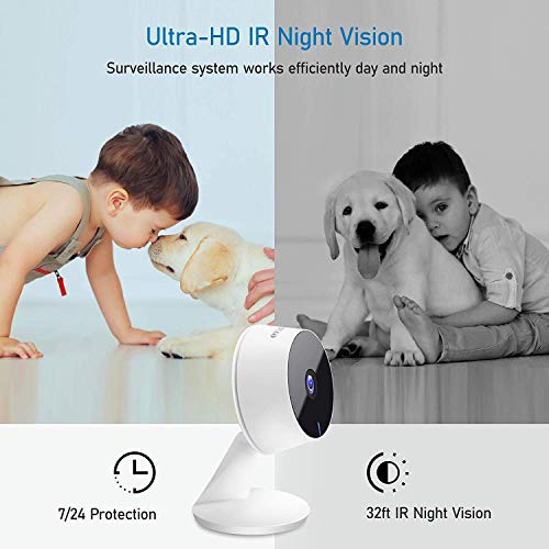 Laview Home Security Camera HD 1080P(2 Pack) AI Human Detection,Include 2 SD Cards,32GB Two-Way Audio,Night Vision,WiFi Indoor Surveillance for Baby/pet,Alexa and Google,Cloud Service (US Server)