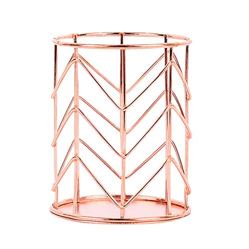 MSOO Round Pen Pencil Holder Office Supplies Desk Organizer Iron Makeup Brush Tube (Rose Gold)