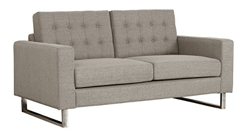 Living Room Container Furniture Direct Angela Collection Modern Button Tufted Upholstered Living Room Loveseat, Brown modern sofas and couches