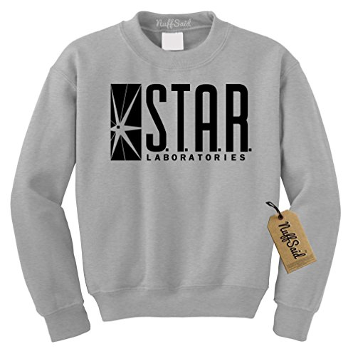 NuffSaid Star Laboratories Star Labs Sweatshirt Sweater Crew Neck Pullover - Premium Quality (Medium, Ash) Dc Star Pullover Hoodie