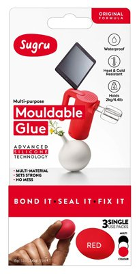 Sugru SMLT3 3 Pieces Air-curing Rubber Set, 5g Capacity, Black/ White/Red