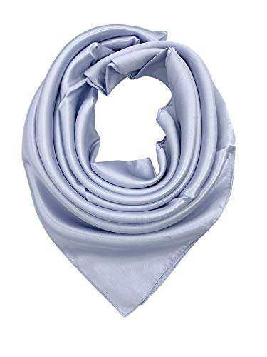 - YOUR SMILE Pure Light Grey Silk Feeling Scarf Women's Large Square Satin Headscarf (331)
