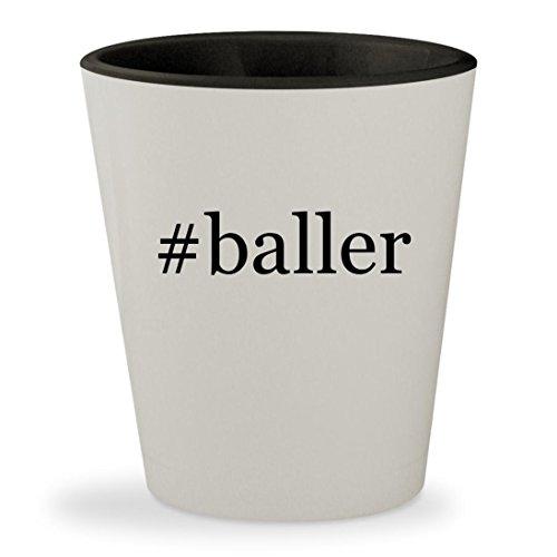 #baller - Hashtag White Outer & Black Inner Ceramic 1.5oz Shot Glass