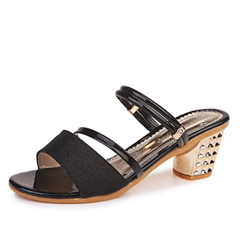 Women's Sandals High Heels Peep Toes Wedges Comfortable Slippers Pumps Mules Ladies Shoes Jazz Black LDiRBtUY