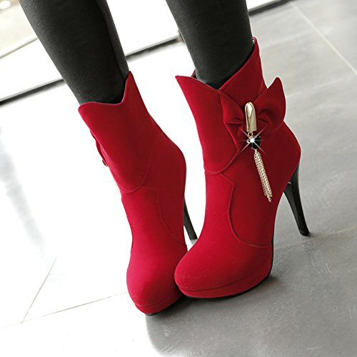 Suede Fringes Heel Platform Zipper Toe Sexy Women's Faux Side Bow Summerwhisper Short Boots High Round Stiletto Red wCpxq1UHX