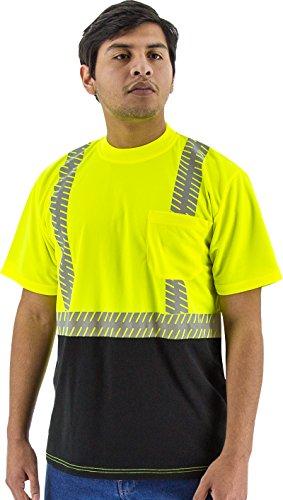 Majestic 75-5215 Birdseye Yellow Mesh T-Shirt ANSI 2 Black Bottom XL Size by MAJESTIC (Image #1)