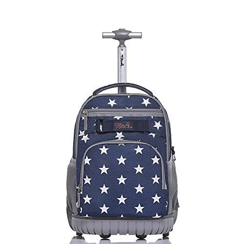 Tilami Rolling Backpack 18 inch for School Travel, Blue Star