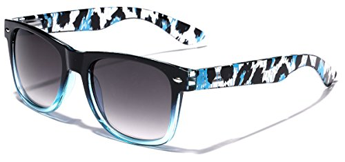 Blue Leopard Print (Animal Print Ladies Retro Fashion Wayfarer Sunglasses - Black & Blue)
