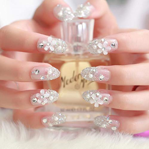 Silver flower adhesive 24pc 3D fake nails bling fake full nail tip silver flower back glue