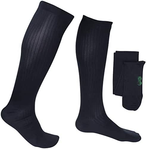 EvoNation Men's USA Made Graduated Compression Socks 8-15 mmHg Mild Pressure Medical Quality Knee High Orthopedic Support Stockings Hose - Best Comfort Fit, Circulation, Travel (Large, Navy Blue)