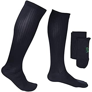 EvoNation Men's USA Made Graduated Compression Socks 15-20 mmHg Moderate Pressure Medical Quality Knee High Orthopedic Support Stockings Hose - Best Comfort Fit, Circulation, Travel (XXL, Navy)