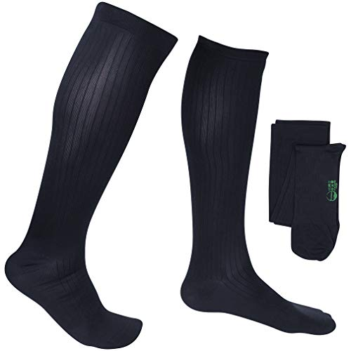 EvoNation Men's USA Made Graduated Compression Socks 15-20 mmHg Moderate Pressure Medical Quality Knee High Orthopedic Support Stockings Hose – Best Comfort Fit, Circulation, Travel (Medium, Navy)