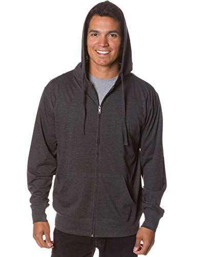 Global Men's Lightweight T-Shirt Jersey Full Zip Up Hoodie Sweatshirt XXL Charcoal Heather (Jacket T-shirt Jersey)