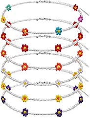 GYSONG Beaded Choker Necklaces For Women Vsco Boho Handmade Flower Necklace Cute Necklace For Teen Girls Beach