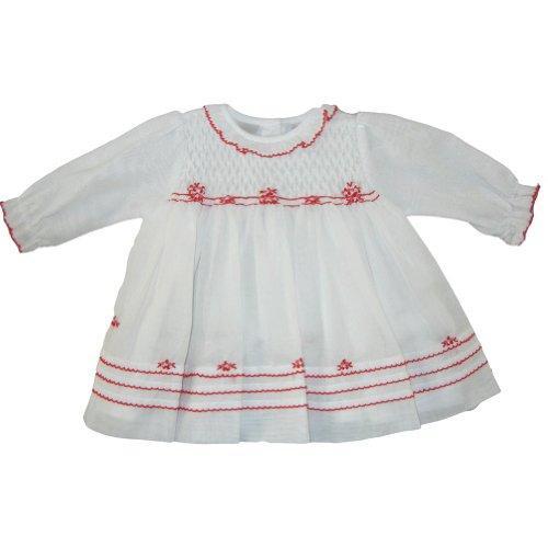 (Sarah Louise Long Sleeve Smocked Bodice Dress )