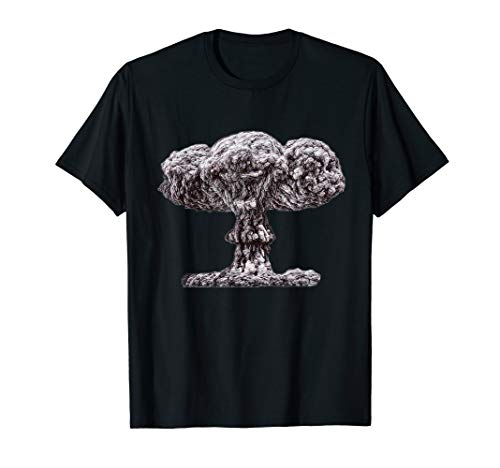 Atomic Nuclear Bomb Mushroom Cloud Artistic Sketch T-shirt