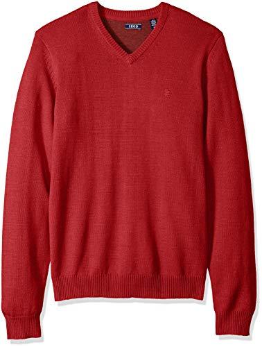 IZOD Men's Premium Essentials Solid V-Neck 7 Gauge Sweater, New Real red, X-Large ()