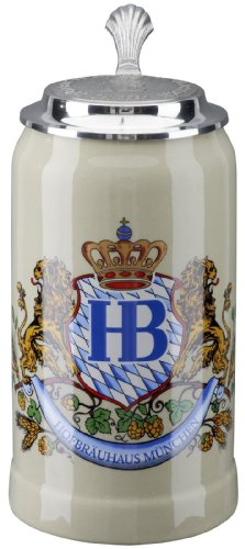 Hofbrauhaus Munich Lion Crest Stoare German Beer Stein 1L Oktoberfest Munchen by Pinnacle Peak Trading Company