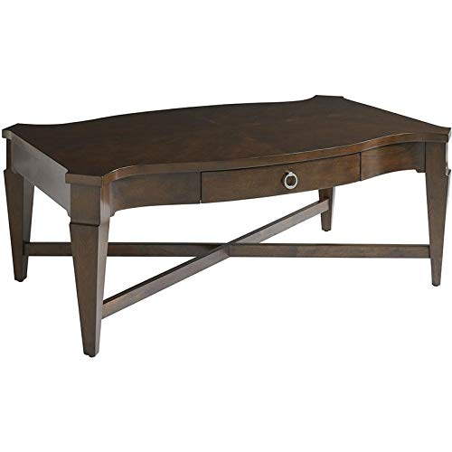 "Bassett Furniture 6226-0613 48"" Rectangular Cocktail Table with 1 Drawer, X Motif Stretcher and Nickel Ring Hardware"